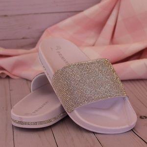 White Rhinestone Slide Sandals